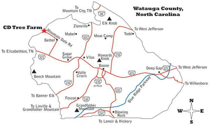 Hwy 421 Nc Map.Cornett And Deal Christmas Tree Farm Nc Christmas Tree Farms